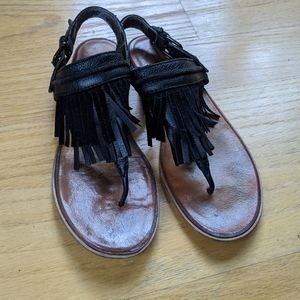 French Connection leather fringe thong sandal